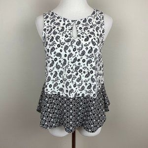 Everly S Top Black White Paisley Floral Sleeveless